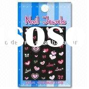 Nail Decorations in Graphic Diamond Sticker with Heart Patterns