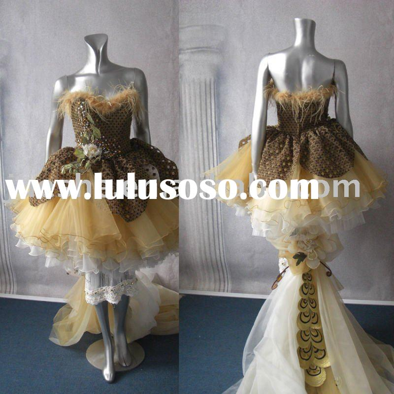 New collection long back front short prom dress b-308