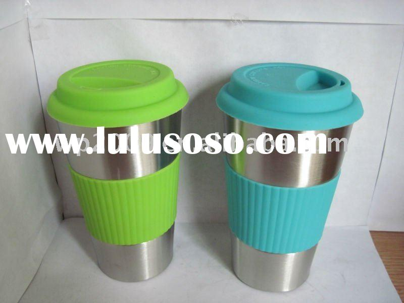 New-hot ,double wall SS tumbler coffee mug with plastic sleeve on the body