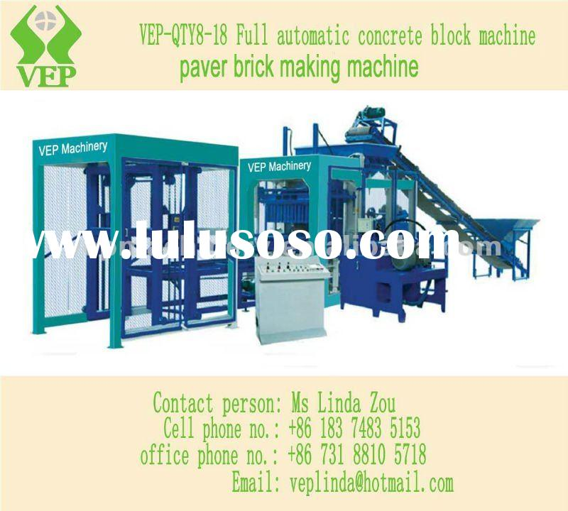 P.Full Automatic Concrete Hollow Solid Paver Interlocking Block Making Machine QTY8-18