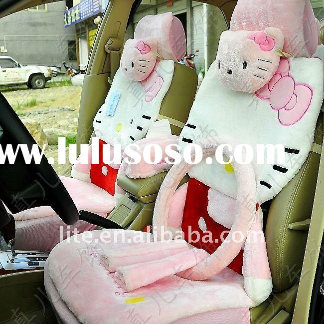 Pink Hello Kitty Winter Seat Cushions With Car Steering Wheel Covers 15pcs