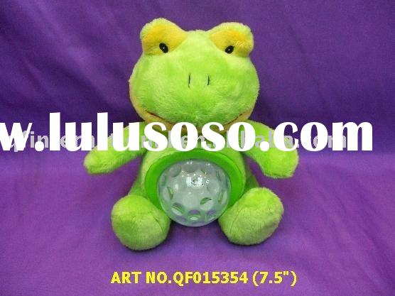 QF015354 7.5 INCHES FROG WITH STAR LIGHT NIGHT LAMP AND MUSIC >3 COLOR LED STARS SHAPED LIGHT