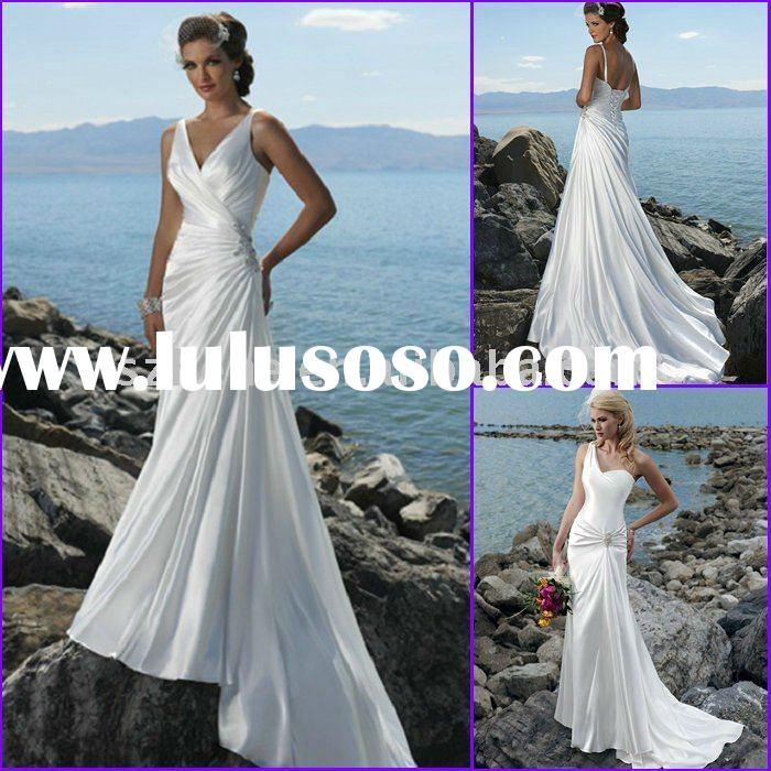 Slim A-line white satin V neck backless beach wedding dress