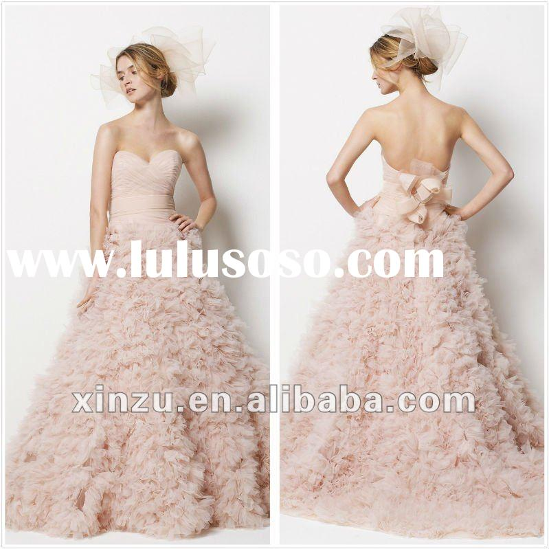 Strapless Sweetheart Neckline Low Back Ruffle Hot Pink Wedding Dress