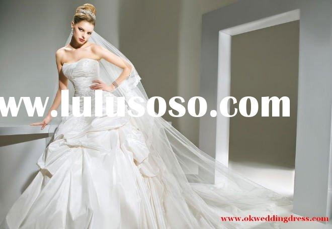 Sweet heart Long train Ball gown Taffeta wedding dress