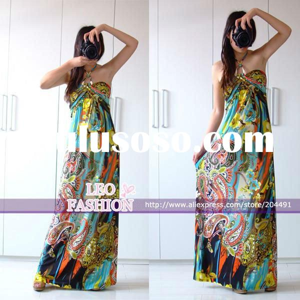 The newest 2011 wholesale Bohemia ladies maxi dresses,printed casual dress,strapless/ spaghetti/halt