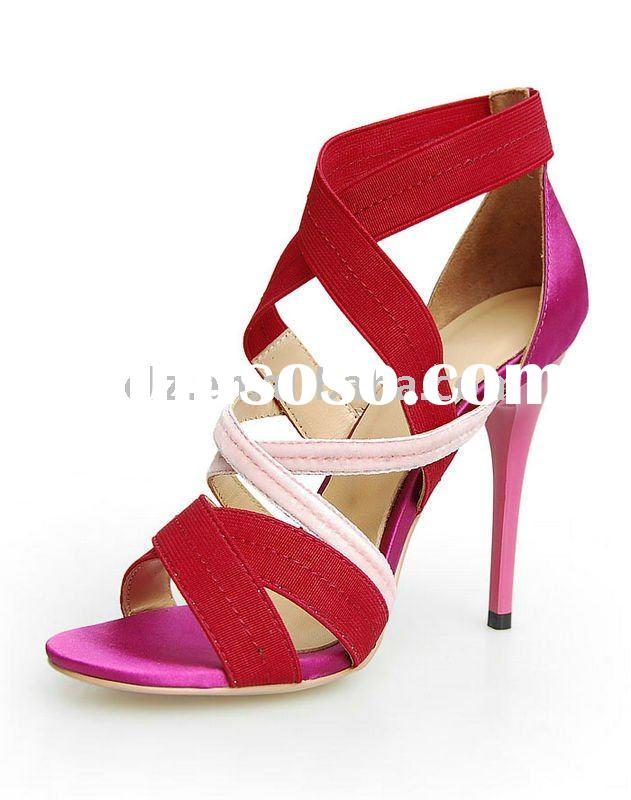 Upper satin sheepskin summer high heel brand name shoes GSL024 free shipping