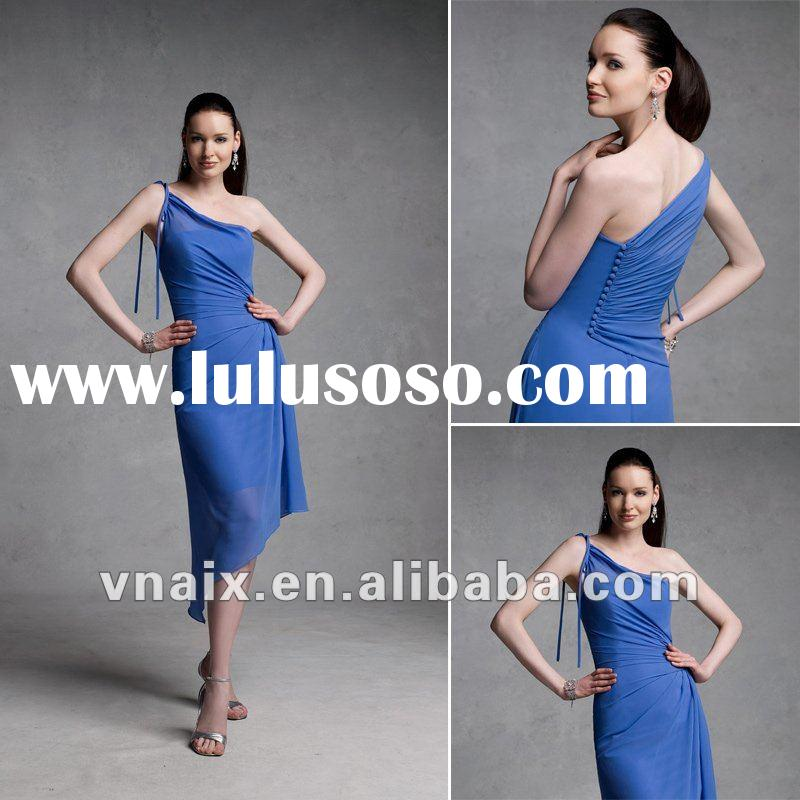 Vnaix B0003 Elegant Tea Length One Shoulder Chiffon Royal Blue Bridesmaid Dress