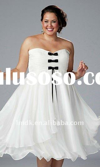 White Strapless Tea Length Plus Size Dress