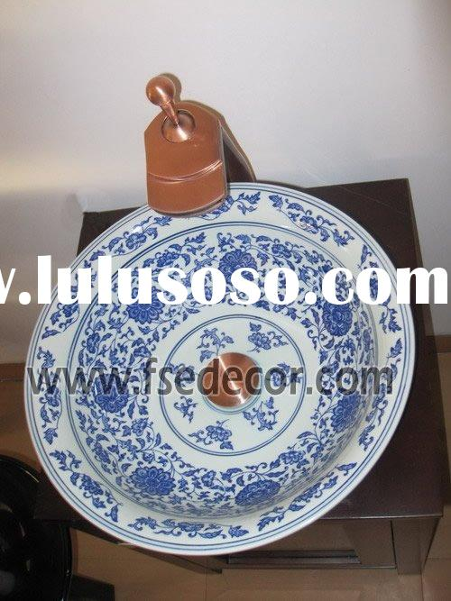 White and Blue Ceramic Hand Wash Basin