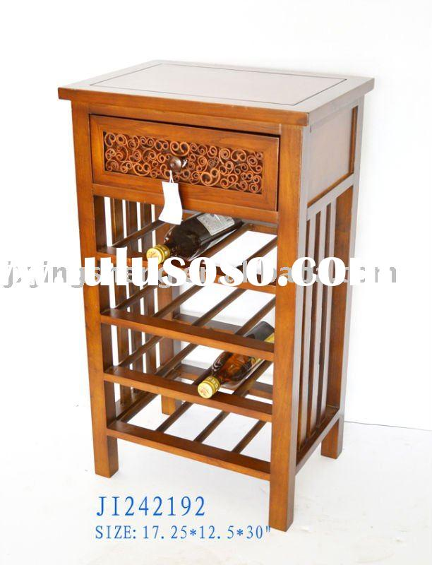 Wooden wine bottle holder with storage drawer