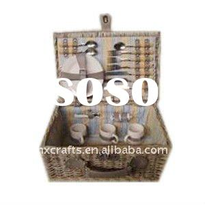 Woven Grey Wicker Picnic Basket With Lid