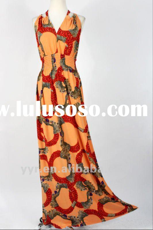 YYH-BDF1061# Wholesale and Retail,2012 New Ladies Sleeveless Print Full-length Maxi Dresses
