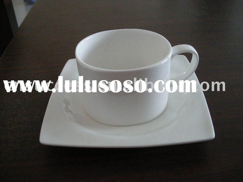 bone china square shape tea cup and saucer white body