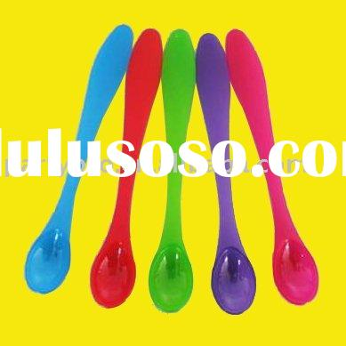 colorful plastic baby spoon