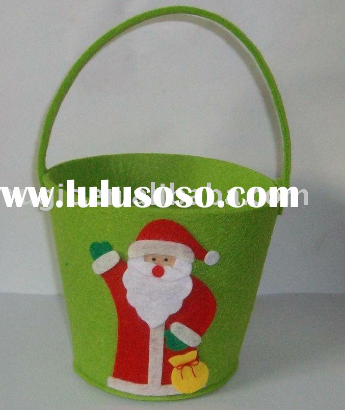 craft art Christmas decoration felt bucket basket, art craft ornament non woven felt decoration buck