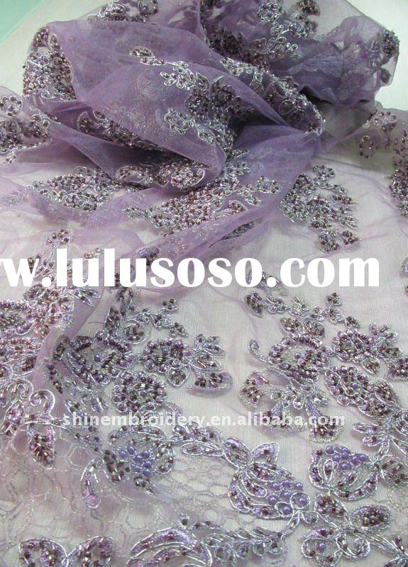 fancy tulle fabric with handwork embroidery designs with beads sequence, designer beaded fabric