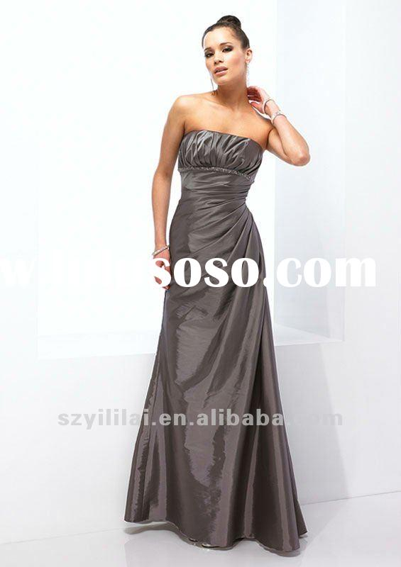 grey satin strapless A line bridesmaid dress 2012