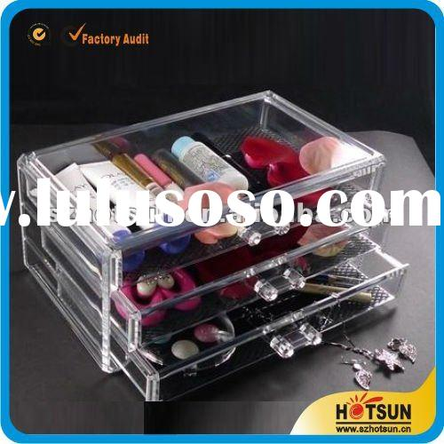 hot sale clear acrylic makeup case with drawers