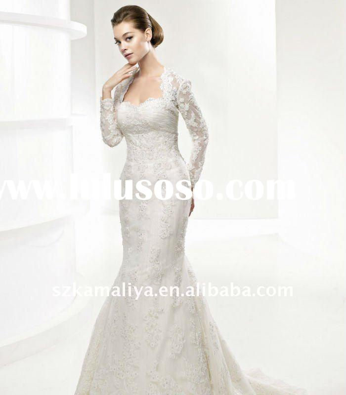 hot sale gorgeous long sleeve lace wedding dresses with jacket