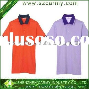 hot-selling hit color double collar short sleeve 100%cotton polo shirts