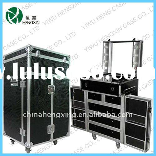 lighted makeup cases with drawer,aluminum makeup case with stand