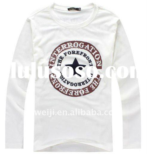 men's O-NECK long sleeve white t shirts