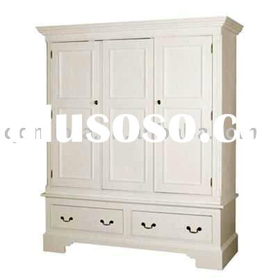 modern 3 door with 4 drawers solid pine wardrobe