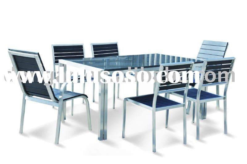 outdoor/indoor furniture stainless steel frame garden sets table chair SST-T05 SPS-C01A SPS-C08A