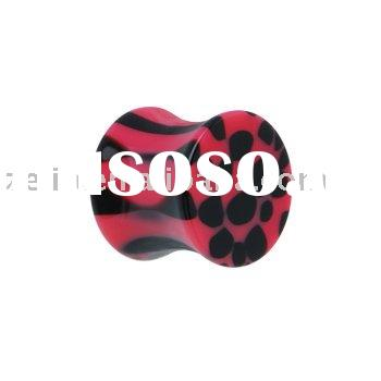 pink and black animal print ear plug ,body jewelry