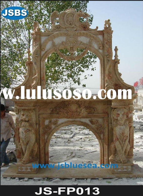 red marble large interior fireplace with lion carving
