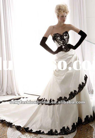 sweetheart lace applique accented ball gown black and white plus size wedding gown