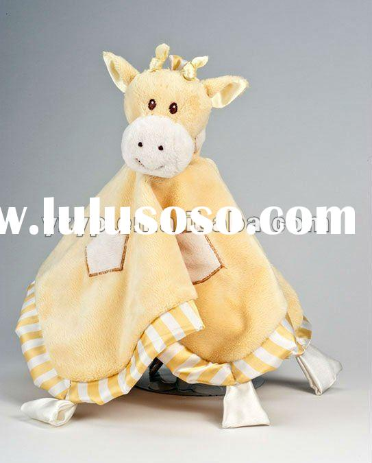 ultra soft and unbelievably cute Yellow and cream plush baby Giraffe blanket baby plush toys with em