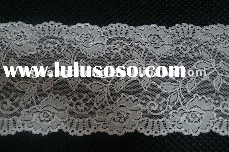 white metallic stretch lace material fabric for wedding dress lace trimming lace factory in china