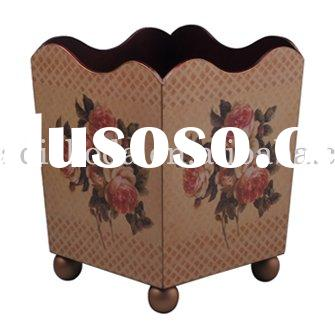 wood craft trash can with rose pattern