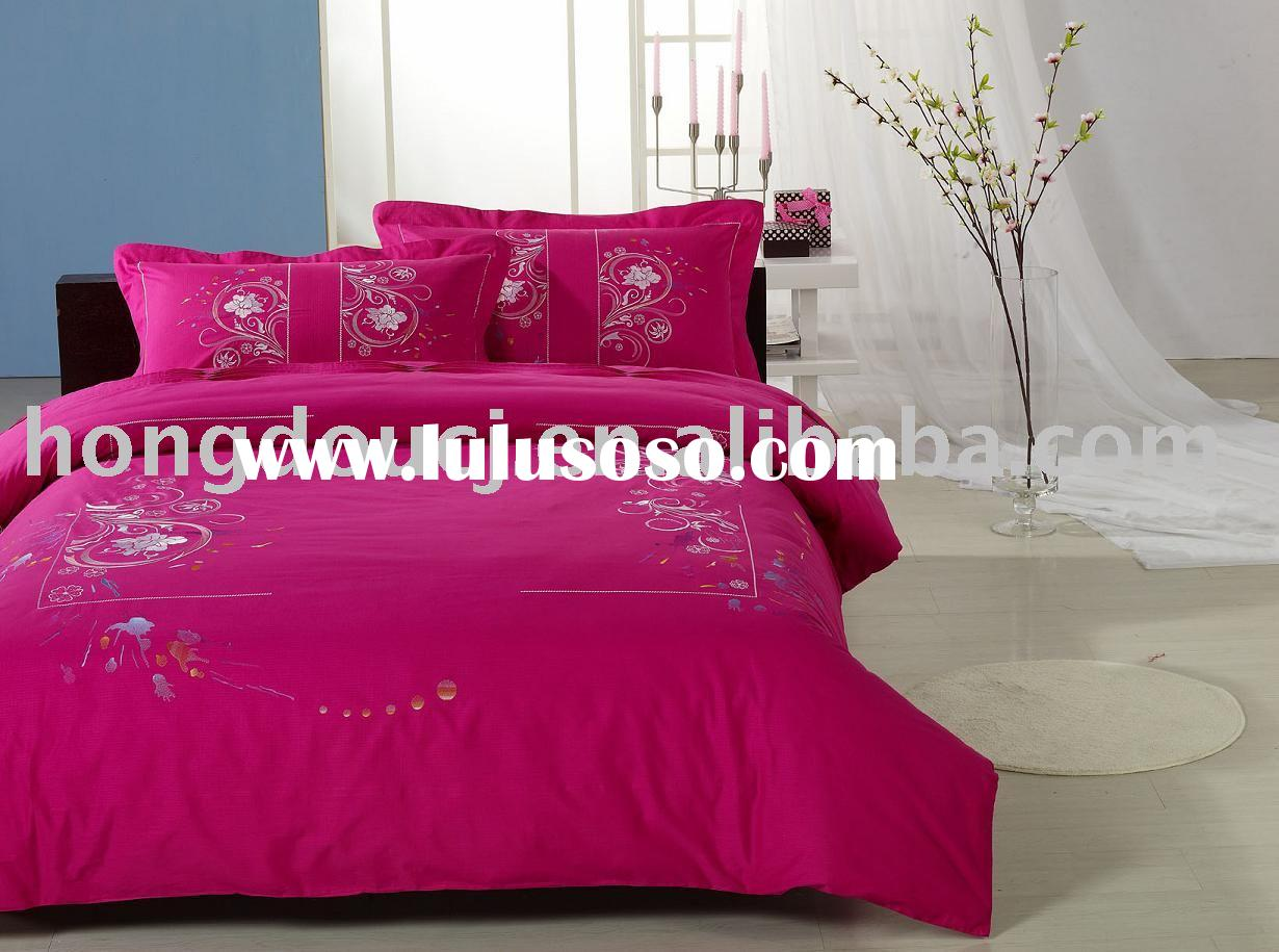 100%cotton embroidered 4pcs bedding set
