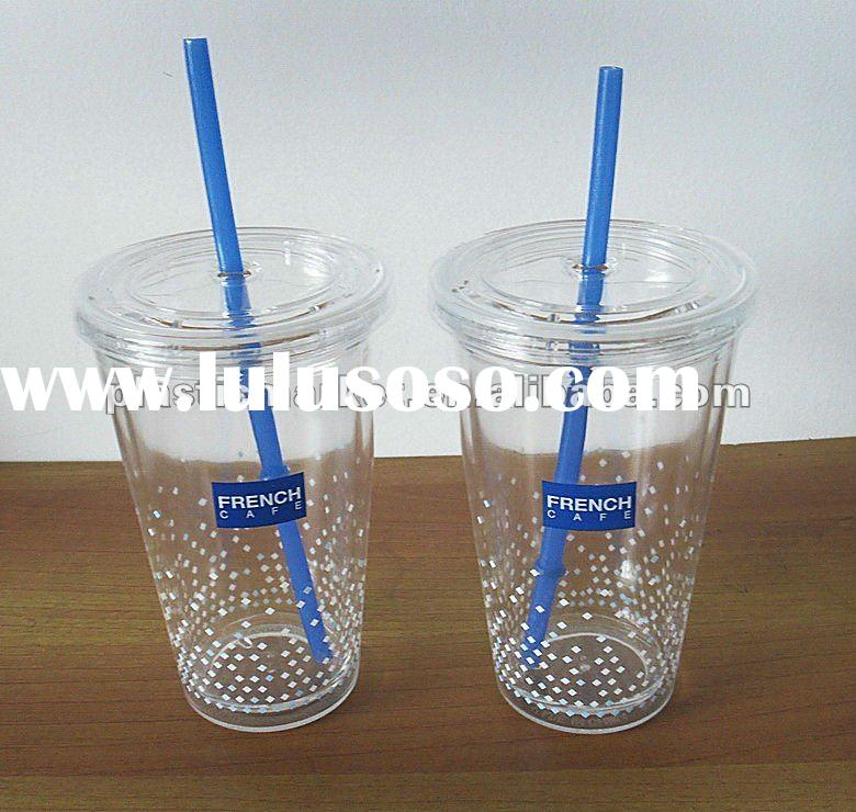 16oz/450ml new promotional double wall plastic cup with straw