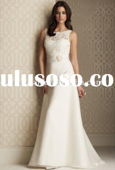2011 new designer China custom sleeveless wedding gowns with lace MIW-025