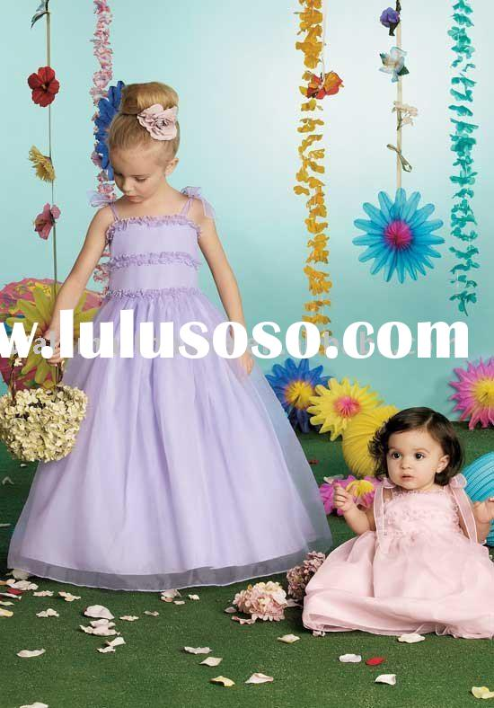 2012 Lovely Light Purple FL001 Ball Gown Floral Floor-length Organza Satin Flower Girl Dresses