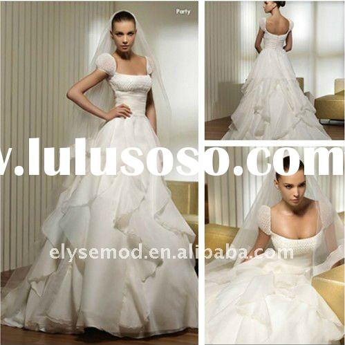 2012 Sweet yet Cool Ball Gown Strapless Floor Length Chiffon and Lace Vintage Wedding Dress