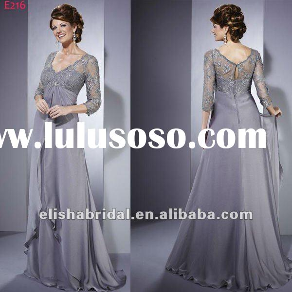 2012 V-neck Long Sleeve Beaded Lace Empire Mother Of The Bride Lace Dresses