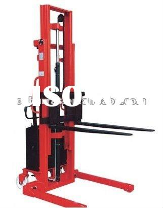2012 new type semi-electric stacker with long forks 1000kg 3000mm, half electric battery mini forkli