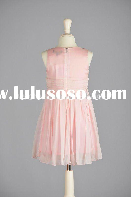 2012classic All-Silk Pink/Red Side-Draped Princess Dress With Zipper,European material,kids and baby