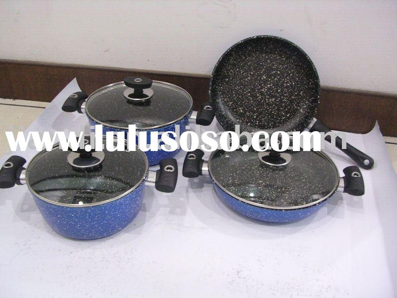 7pcs die -casting aluminum marble coating cookware set