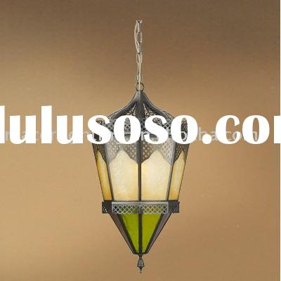 Arabian Style Brass Pendant Lamp With Color Glass