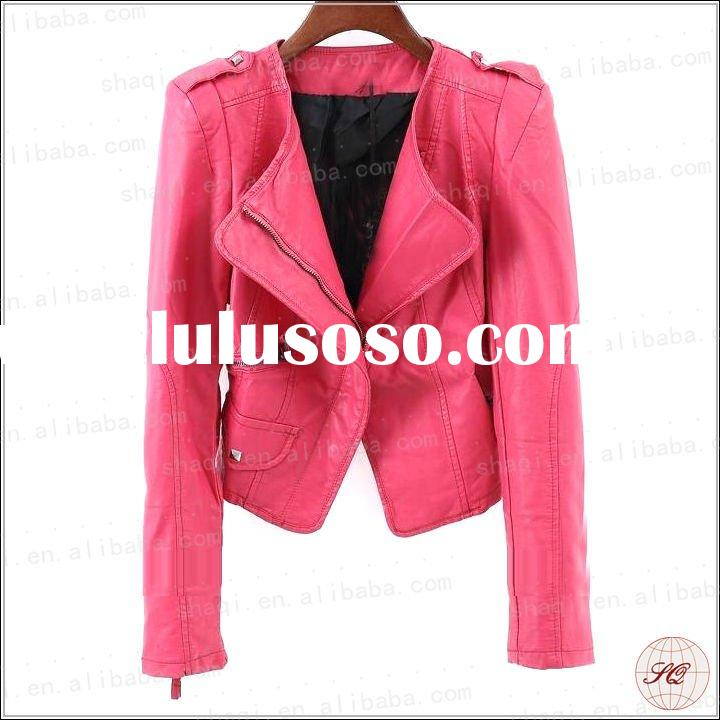 Attractive fashion red leather jacket price 2012 wholesale