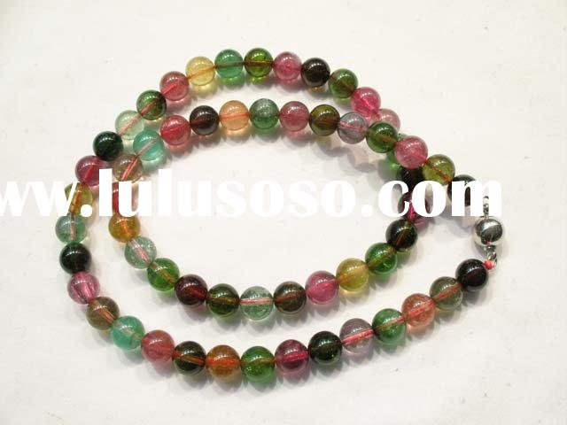 Authentic Tourmaline 8mm Round Beads Necklace