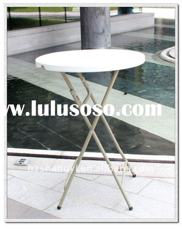 Blow mold plastic round bar folding table for sale