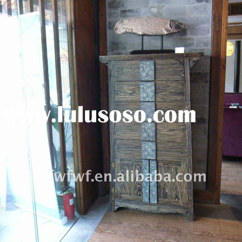 Chinese living room wood cabinet with coin design handles