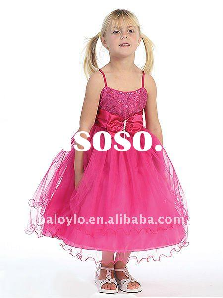 Cute Sequenced Top with Puffy Tulle Skirt Flower Girl Dress